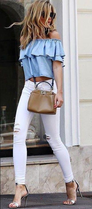 off the shoulder bardot tops make cute summer outfits!