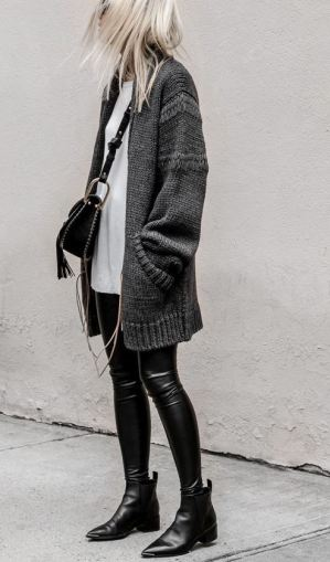 This leather leggings outfit is so cute with the leather booties for fall or winter!