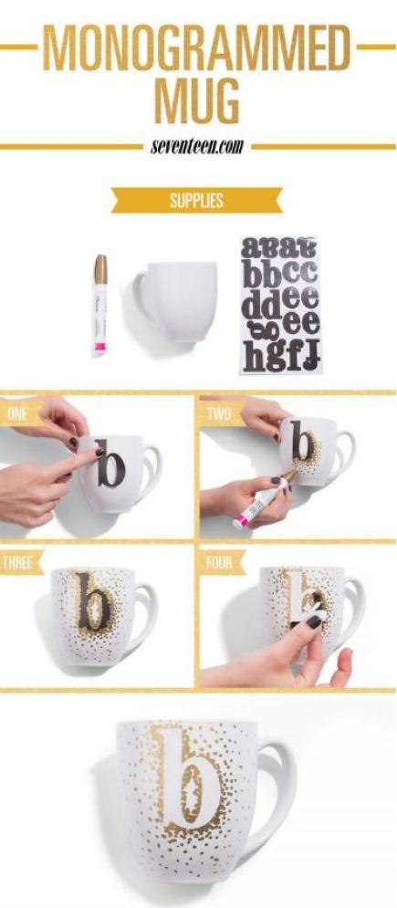 This monogrammed mug is such a cute DIY gift idea!