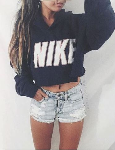 Sweatshirt hoodies and jean shorts are perfect for nighttime summer outfits!
