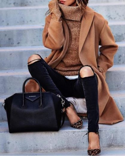 Classy overcoats and wool coats are perfect for winter date night outfits!