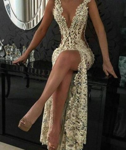 Pearl and lace detail on make ball gowns sexy dresses that will have you looking like a queen!