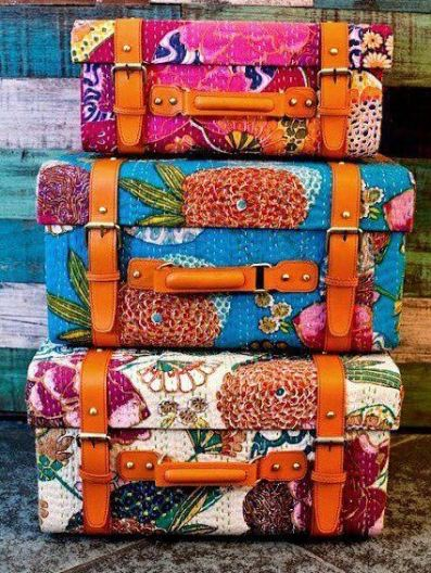 Bright patterns are cute ways to personalize your luggage!