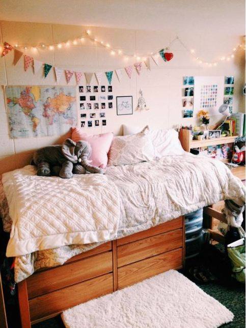 Simple but pretty strands of lights are great ways to decorate your dorm room!