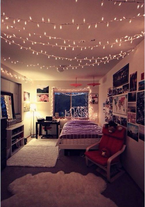 Lights Across The Ceiling Are Great Ways To Decorate Your Dorm Room! Part 57