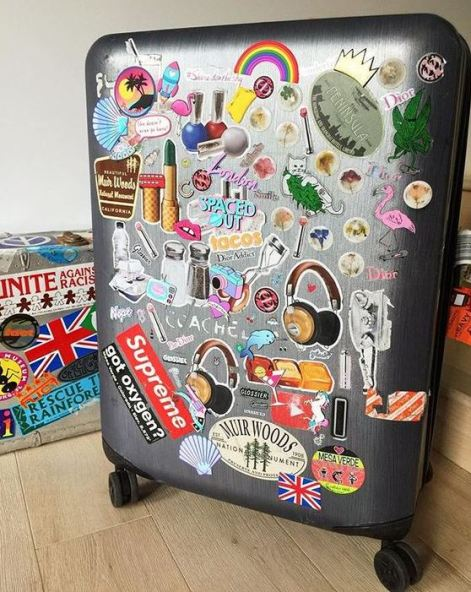 Stickers are cute ways to personalize your luggage!