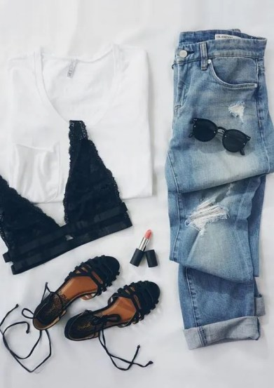 A plain white tshirt can be used to put together cute outfits for school!