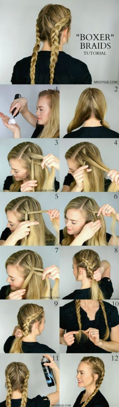 boxer or dutch braids make such cute hairstyles for long hair!
