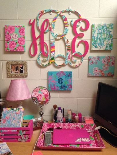 Fun wall art around your desk is perfect for preppy dorm rooms!
