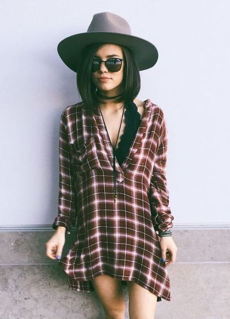 Flannels worn as dresses are perfect for edgy outfits to go out in!