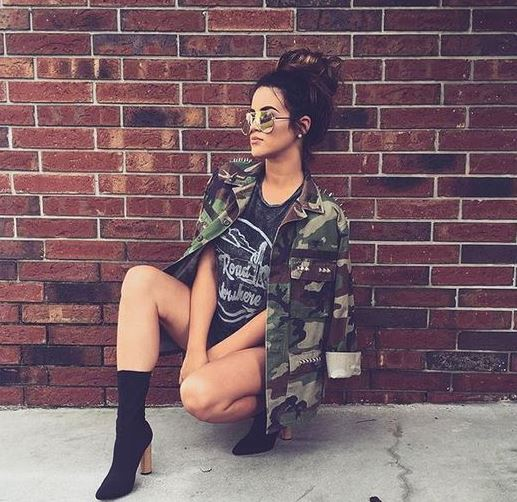 Military jackets and prints are perfect for edgy outfits to go out in!