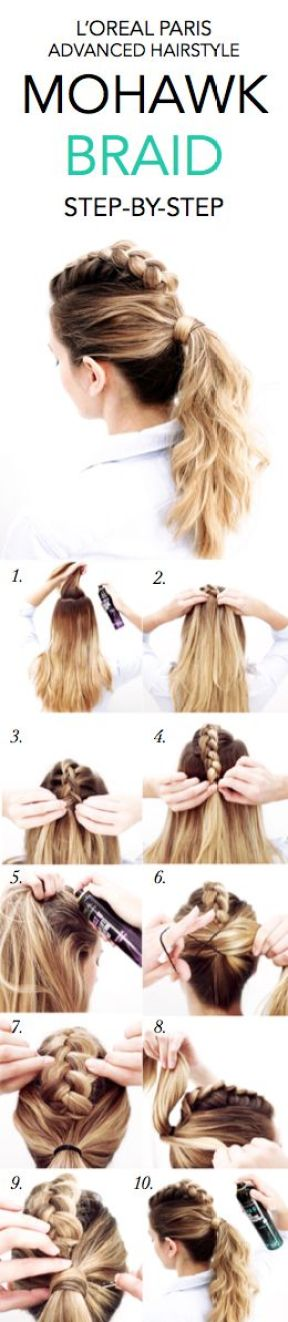 Mohawk braids make such cute hairstyles for long hair!