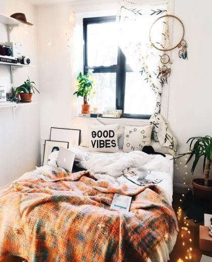 Good vibes only in boho dorm rooms!