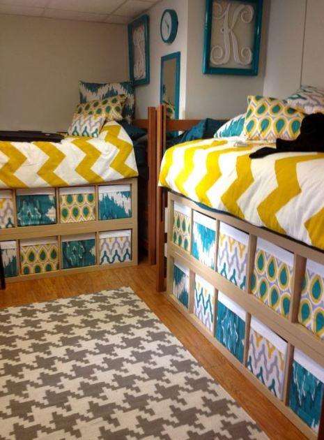 This yellow dorm bedding creates such a cute dorm room!