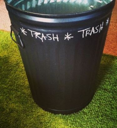 A chalkboard trashcan is a great DIY dorm room decor idea!
