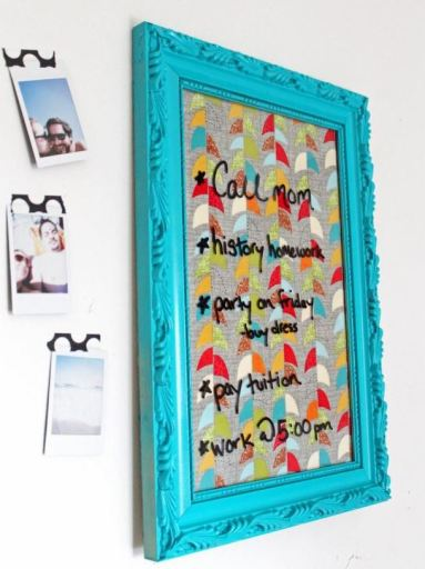 An erasable message board is a great DIY dorm room decor idea!