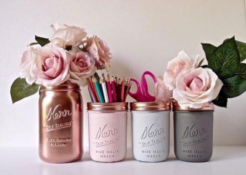 Painted mason jars are a great DIY dorm room decor idea!
