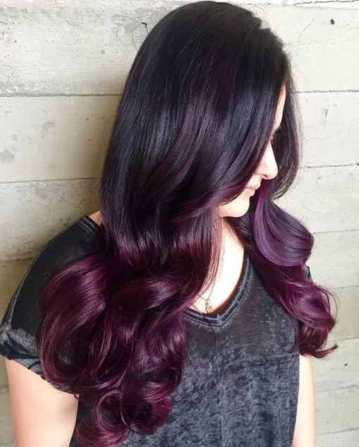 Purple is so pretty for brunette ombre hairstyles!