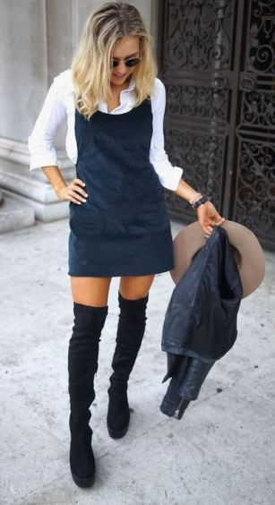 A corduroy look completes a thigh high boots outfit like this!