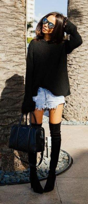 Too hot? Rock shorts with a thigh high boots outfit!