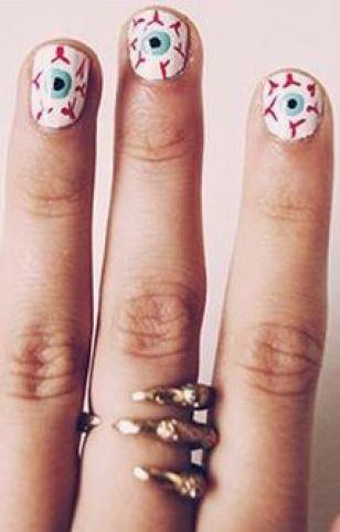 This eyeball design is a great Halloween nail art design.