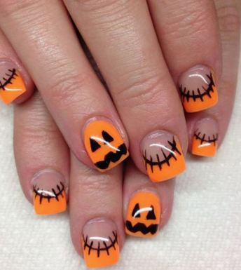 This Halloween French manicure is a great Halloween nail art design.