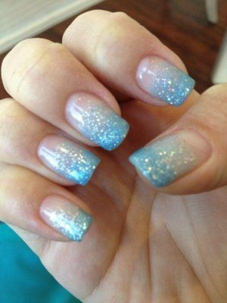 Light Blue Acrylic Nails Glitter Sparkle