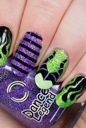 This Maleficent nail art design is a great Halloween nail art design.