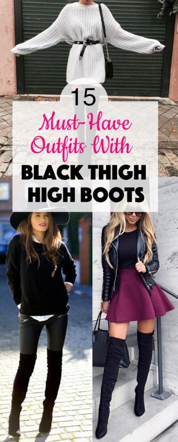 These black thigh high boots outfits are definite must-haves