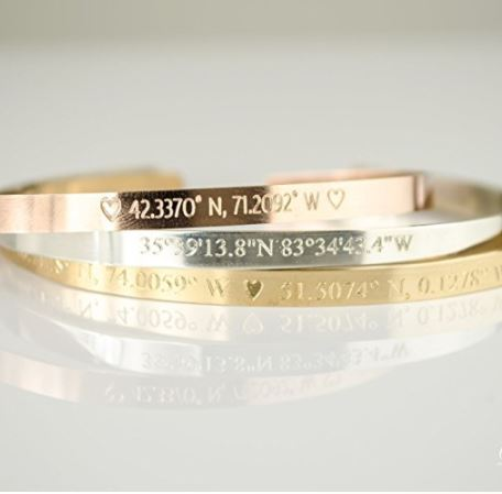 pick your mom up some gold bracelets with your birth coordinates on it definitely one of the best christmas gifts for parents who have everything