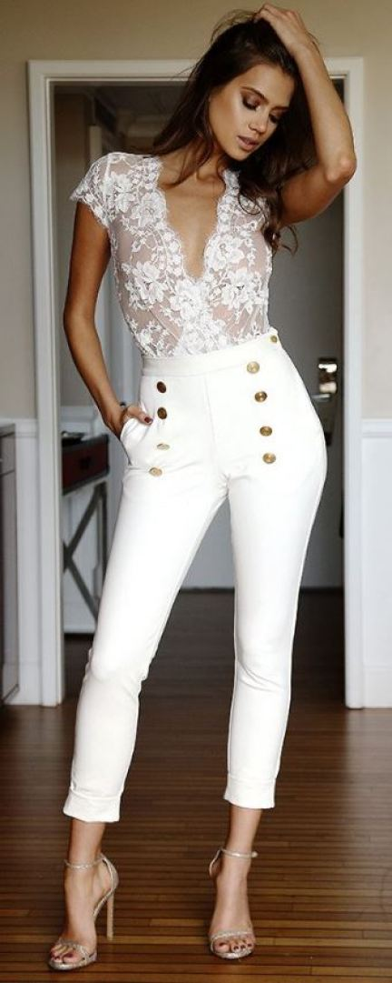 A white body suit outfit can look cute for any event!