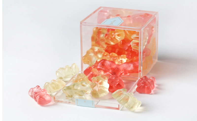 Sugarfina candy is a luxury. The rose bears and champagne gummy bears are the best sellers. They have green juice bears and other luxury candy flavors.