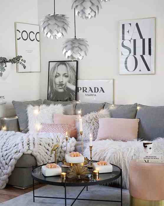 grey and light pink cozy living room decor