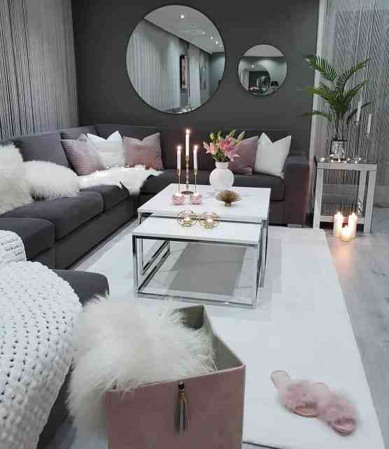 dark grey and dusty pink cozy living room decor