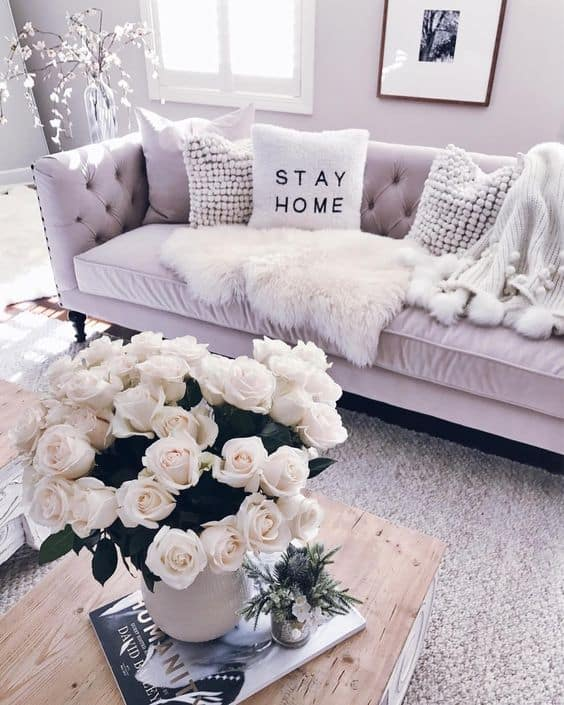 white cozy living room decor