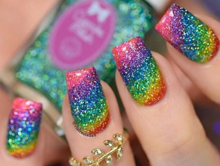 Rainbow Glitter Nails Perfect For Pride