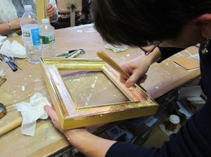 Burnishing a water gilded frame