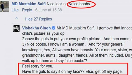 Awesome Reply From Actress Vishakha Singh When A Man Commented 'Nice Boobs' On Her Facebook Photo!