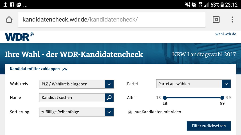 Screenshot WDR-Kandidatencheck