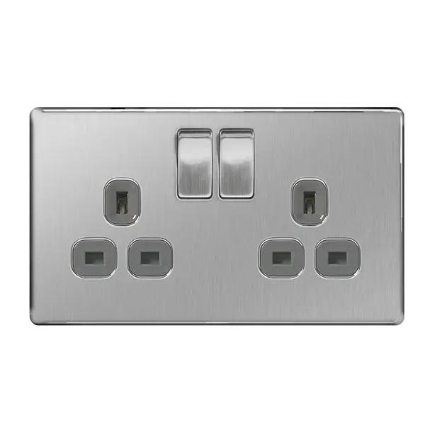 BG Brushed Steel 13A socket