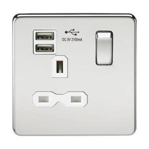 Knightsbridge Screwless Polished Chrome 13A 開關插座連USB充電接口