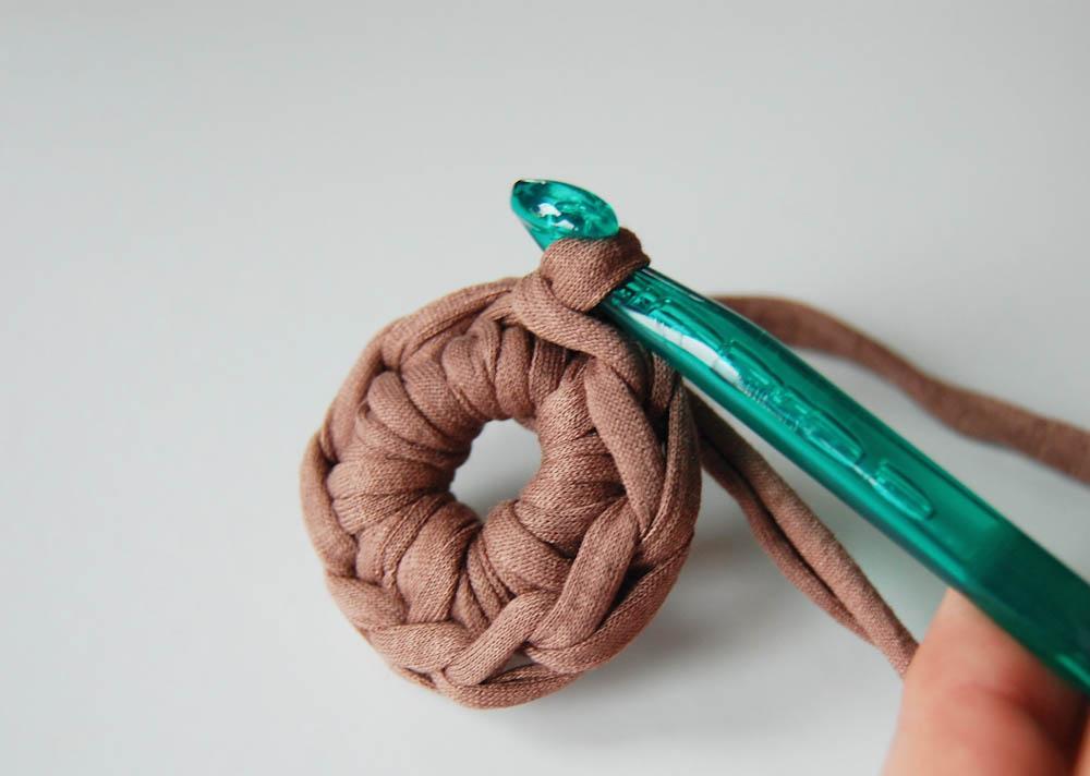 Lampen Schirm Textilgarn fadenring häkeln Tipp: Fadenring häkeln, Magic Loop häkeln