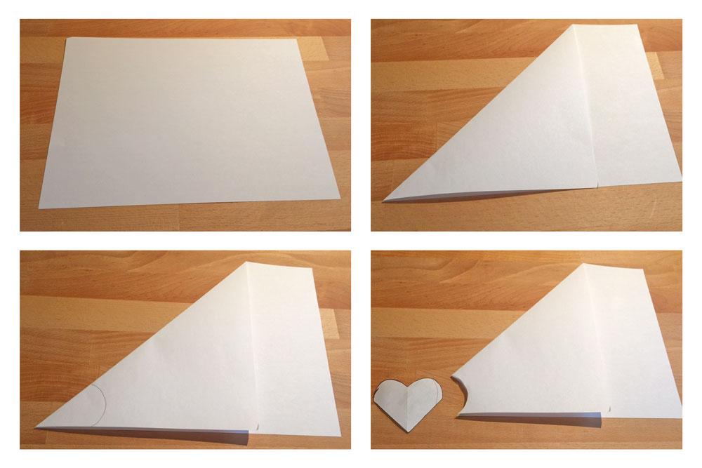 Herzchen Lesezeichen nähen - Schablone wird erstellt herzchen lesezeichen Anleitung: Herzchen Lesezeichen nähen