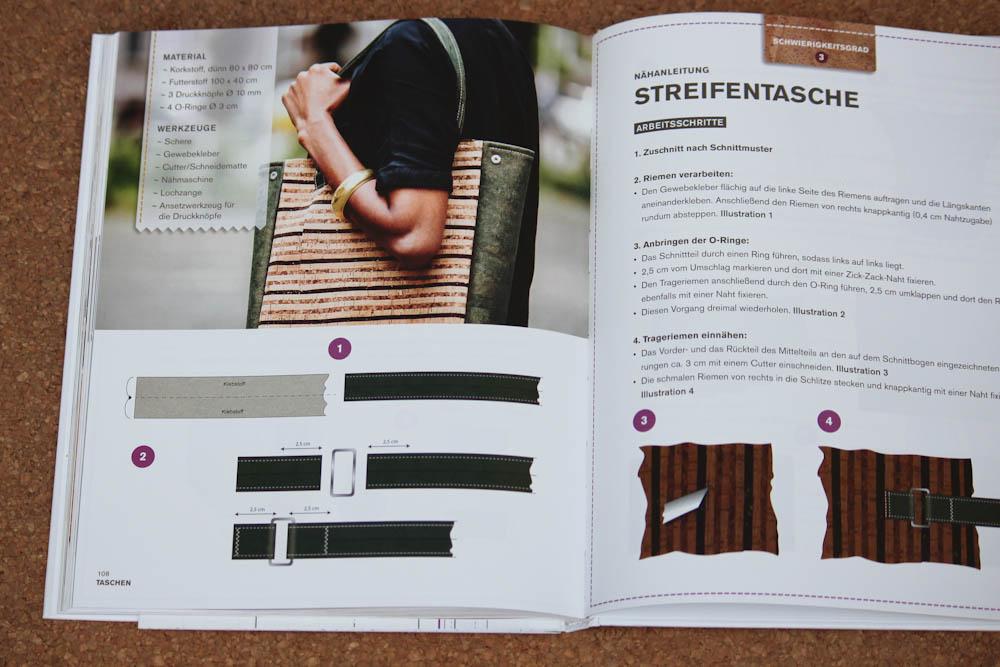 Nähen mit Kork - Streifentasche nähen mit kork Verlosung: Buch Nähen mit Kork von Carmo da Silva
