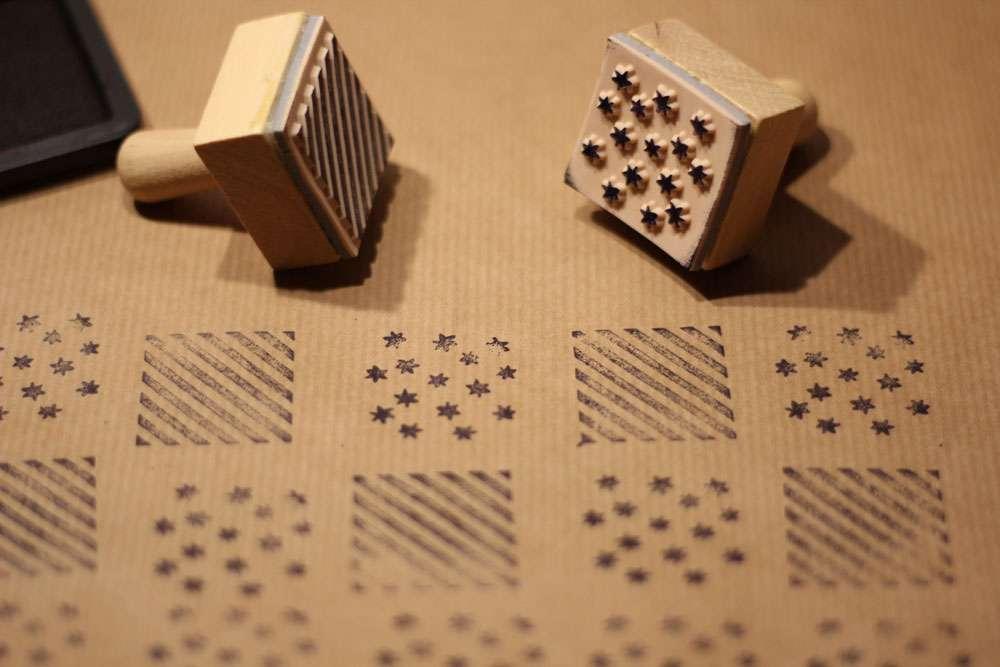 weihnachtliche Geschenkverpackungen - Stempeln  Weihnachtliche Geschenkverpackungen mit Packpapier, Nähmaschine & Co.