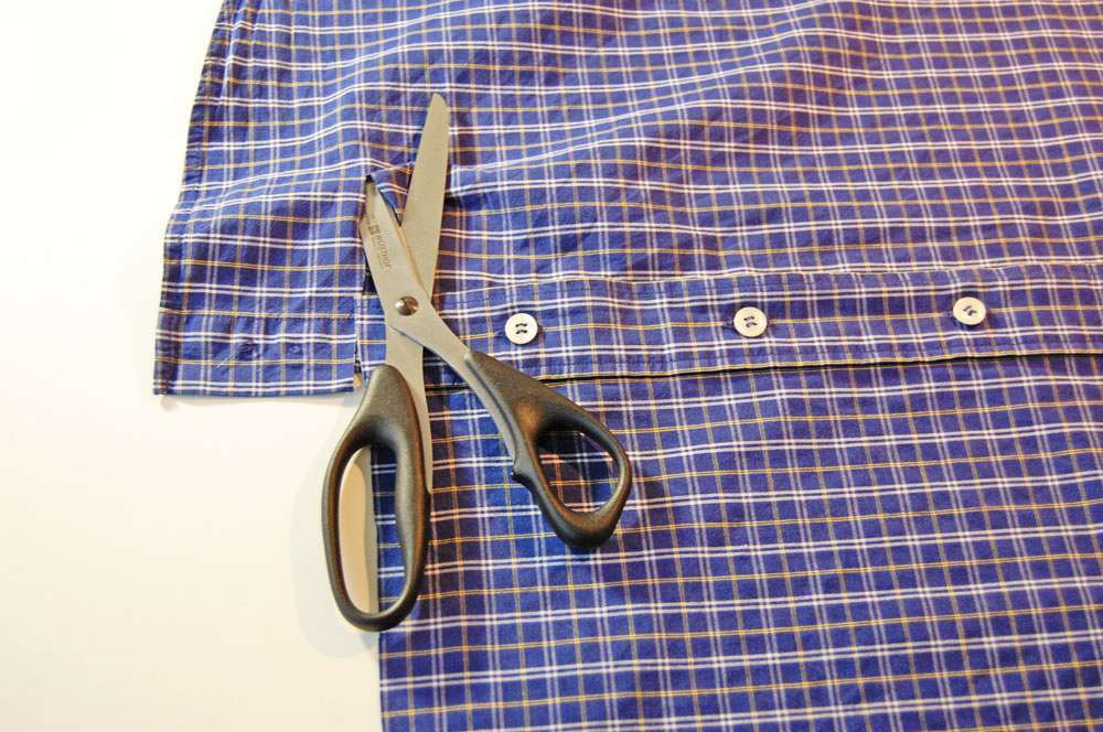Stoffbeutel nähen aus Oberhemd - Beutel zuschneiden stoffbeutel nähen Nähanleitung: Stoffbeutel nähen aus einem Oberhemd
