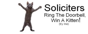 Soliciters - Ring The Doorbell, Win A Kitten Sign