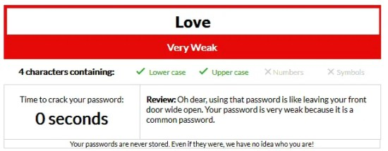 Even Love with a capital L is a bad idea for a password