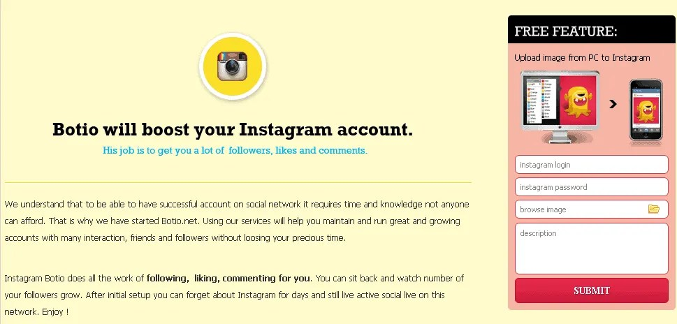 Botio requires that you pass a username and password to upload photos to Instagram