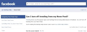 Facebook does not currently allow users to disable the trending box